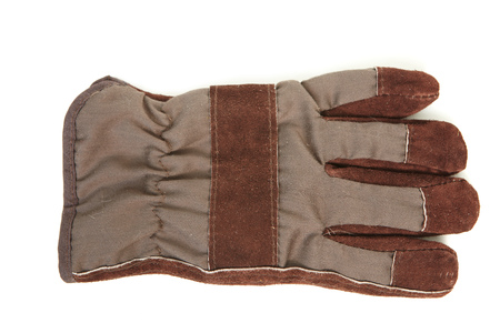 Coarse leather gloves on a white background Stock Photo
