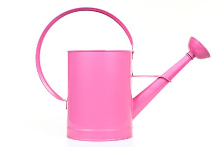 wateringcan: Pink watering-can on a white background Stock Photo