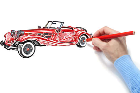 Drawing of the automobile on a white sheet of a paper photo