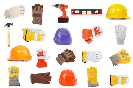precaution: Set of erection tools on a white background
