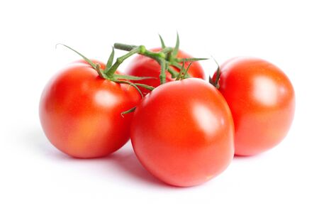 Collection of tomatoes with a light shadows, isolated on white