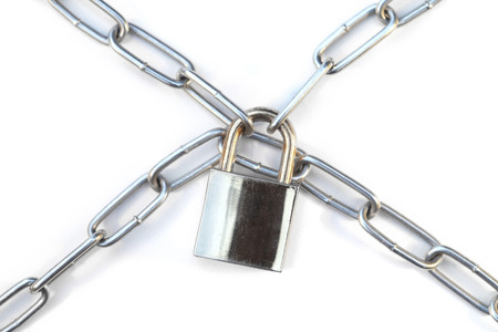padlock shut off: Lock and chain on a white background