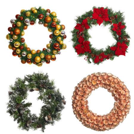 corona navidad: Conjunto de corona de Navidad aislado en el fondo blanco