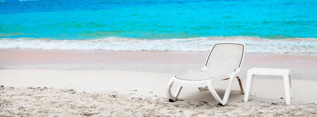 sunbed: Sunbed on a tropical beach.  Summer Vacation Stock Photo