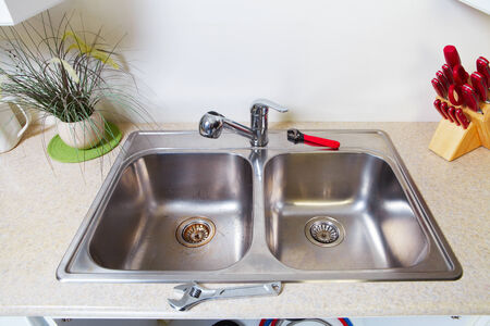 water tap: Kitchen Water tap and sink. Renovation  and plumbing.