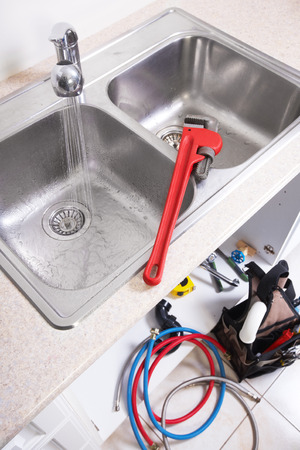 clog: Kitchen Water tap and sink. Renovation  and plumbing.