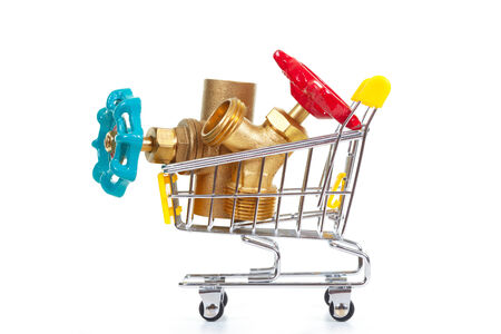 Tools in shopping cart, isolated on the white background photo