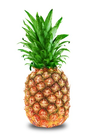 and pineapple juice: Ripe tasty pineapple isolated on white background Stock Photo