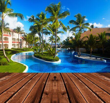 dais: Tropical resort. Hot sunny destination for vacation.