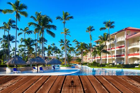 Tropical resort. Hot sunny destination for vacation.