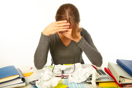sick person: Businessman having stress in the office