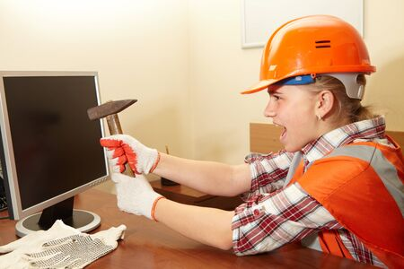 fury: Young contractor in the office. Fury. Construction
