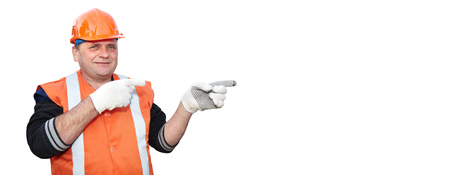 contractor: Mature contractor shows gesture on white background Stock Photo