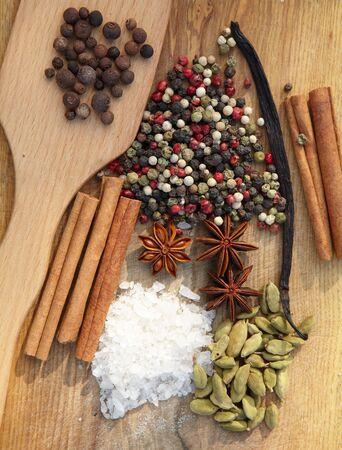 seasonings: Spices. Various seasonings for cooking on wooden background