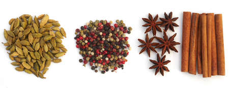 seasonings: Assortment spices. Various seasonings for cooking on white background