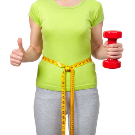 svelte: Woman with a dumbbells. Isolated white background