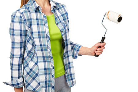 repaint: Woman with a roller. Isolated white background.