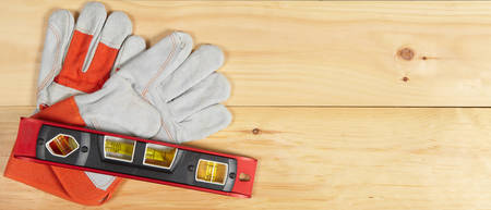 toolset: Set of various tools on wooden background. Construction concept Stock Photo