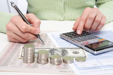 papery: Businessman in office. The money on the table Stock Photo