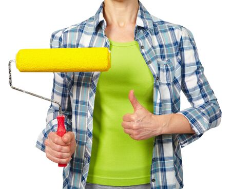 Woman with a roller. Isolated white background.