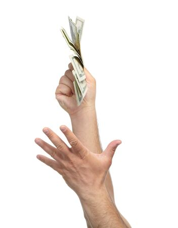 Hands with money isolated on a white background