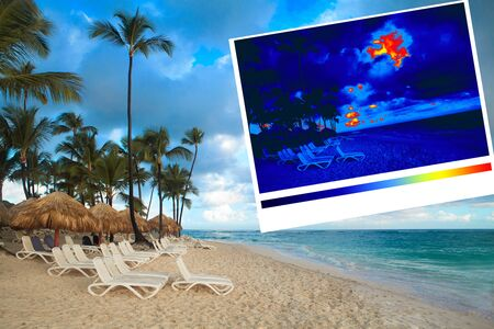thermal imaging: Sunbed on a tropical beach. Thermal imaging