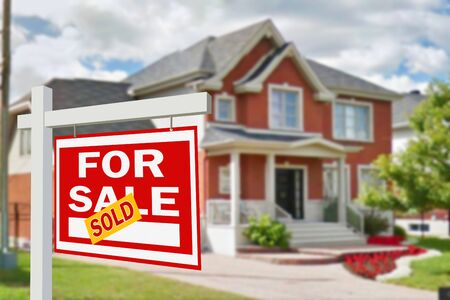 apartment for rent: Home for sale. Sign in front of new home Stock Photo