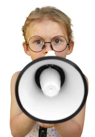 bawl: Little girl shouting by megaphone. Isolated on white background. Emotion