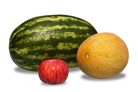 Watermelon, melon and apple isolated on white background