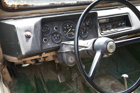 The steering wheel of a old retro car