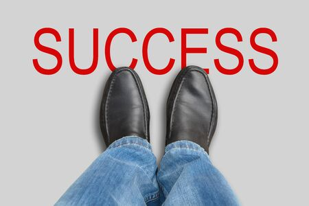 Man in shoes stands still. Businessman and success