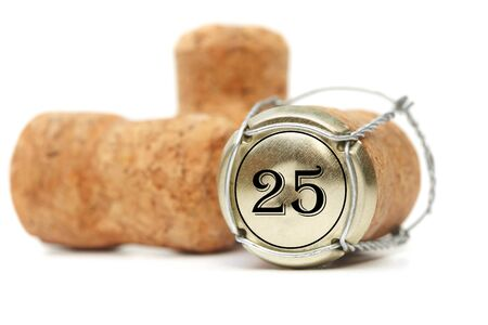 Cork from under champagne on a white background. 25