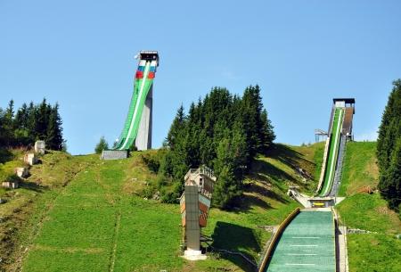springplank: springplank, Pleso, Hoge Tatra, Slowakije Redactioneel