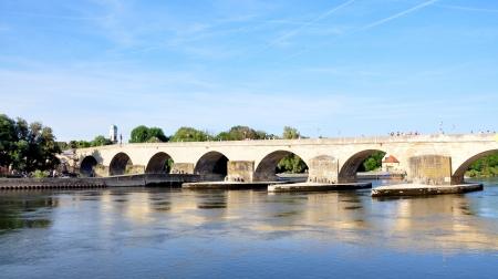 regensburg: Bridge over the Danube River, Regensburg, Germany