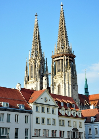 regensburg: tower from the Cathedral of St  Peter in Regensburg, Germany