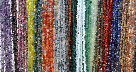 chainlet: view of colored stones on a chain
