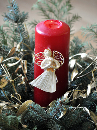 detailed view: Detailed view of Christmas decorations and red candles Stock Photo