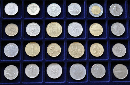 numismatic: Detailed view of numismatic coins collection Stock Photo