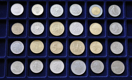 numismatic: Detailed view of a numismatic coin collectio