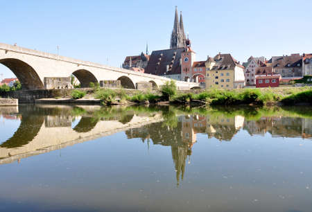 regensburg: View of the town Regensburg and the old bridge, Bavaria, Germany, Europe Stock Photo