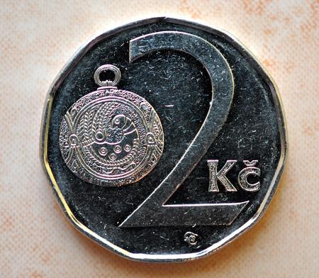 czech republic coin: coin - two-crown, Czech Republic Stock Photo