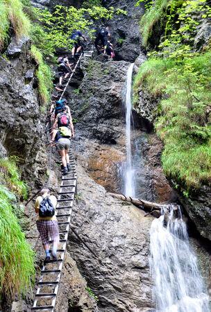 waterfalls and people, Slovak Paradise, Slovakia, Europe