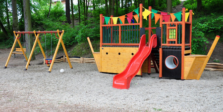 sand pit: playground and sand pit Stock Photo