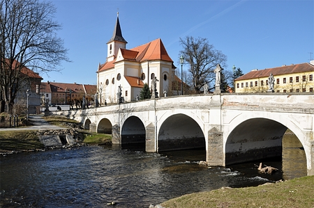 nad: Cityscapes Namest nad Oslavou  and Stari Most, Czech Republic, Europe Stock Photo