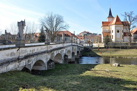 nad': the old bridge and Namest nad Oslavou Czech Republic Europe Editorial