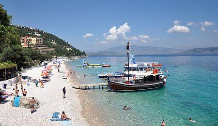 swimm: boat off the coast, Greece, Europe