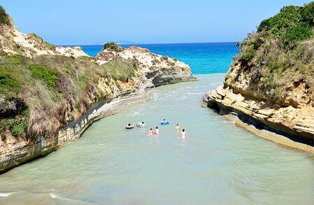 swimm: people in the sea, Corfu, Greece, Europe Editorial