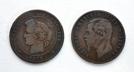detailed view: Detailed view of old copper coins