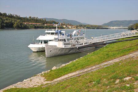 Tourist boat on the river Danube, Austria, Europe Redactioneel