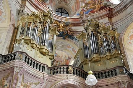 peace pipe: baroque church, village Krtini, Czech Republic,Europe